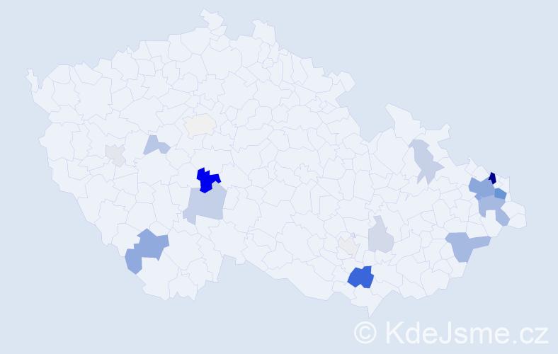 Příjmení: 'Cedivodová', počet výskytů 57 v celé ČR