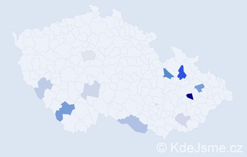 Příjmení: 'Ištóková', počet výskytů 20 v celé ČR