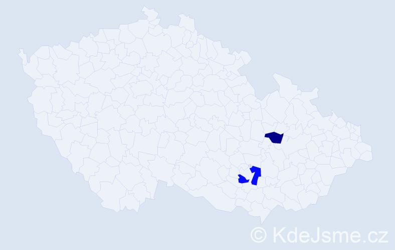 Příjmení: 'Jadviš', počet výskytů 3 v celé ČR