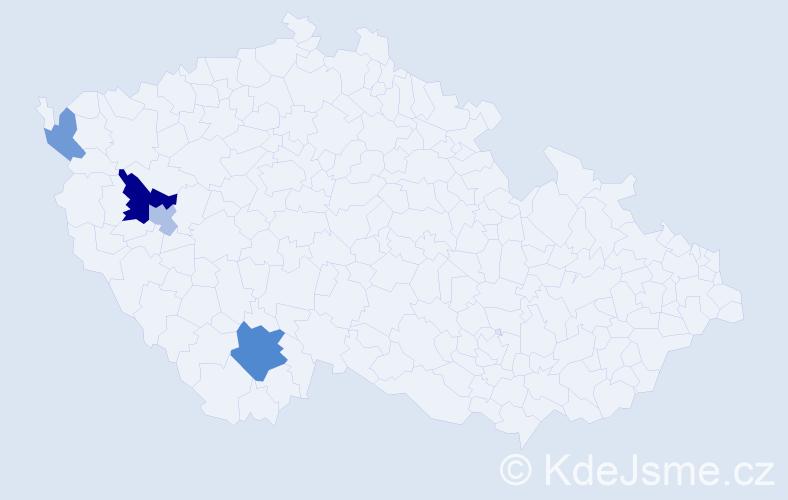 Příjmení: 'Deja', počet výskytů 8 v celé ČR