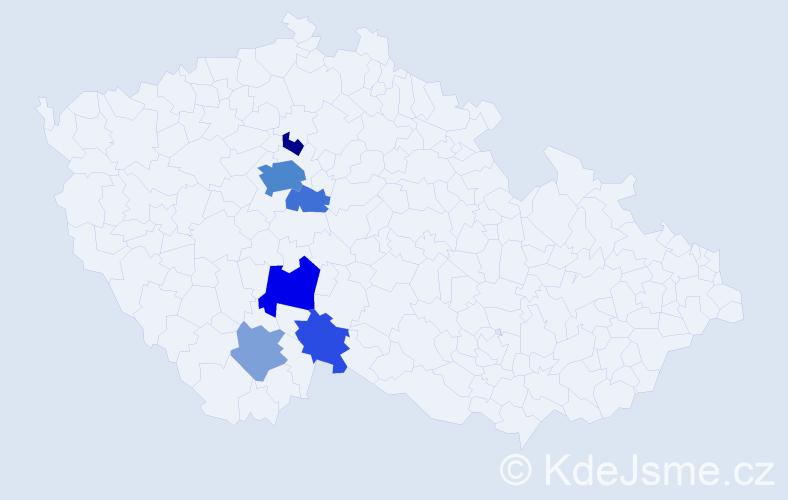 Příjmení: 'Háječková', počet výskytů 17 v celé ČR