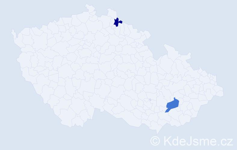 Příjmení: 'Gašicová', počet výskytů 8 v celé ČR