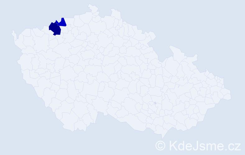Příjmení: 'Crdlíková', počet výskytů 6 v celé ČR