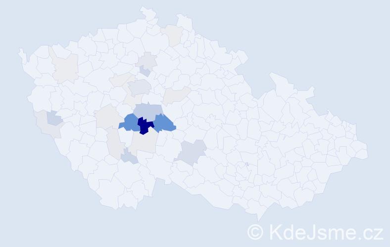 Příjmení: 'Kocura', počet výskytů 70 v celé ČR
