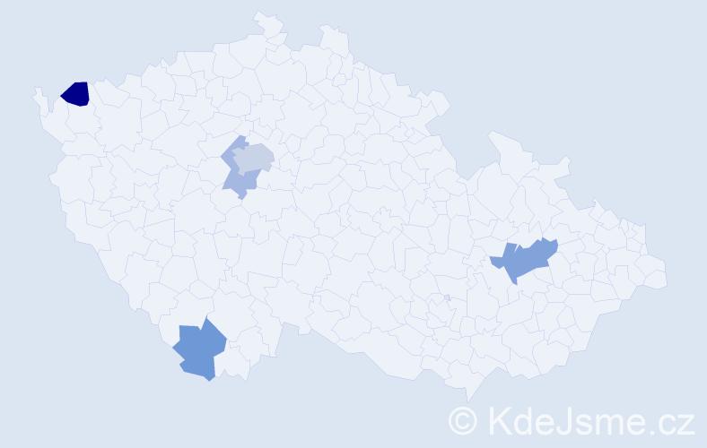Příjmení: 'Jagelka', počet výskytů 9 v celé ČR