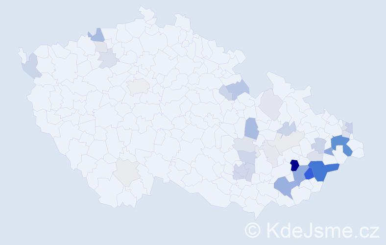 Příjmení: 'Dujka', počet výskytů 113 v celé ČR