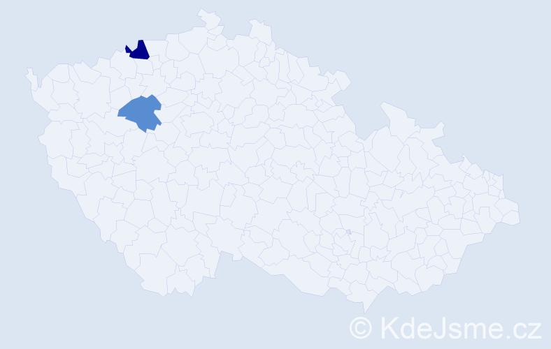 Příjmení: 'Kubač', počet výskytů 8 v celé ČR