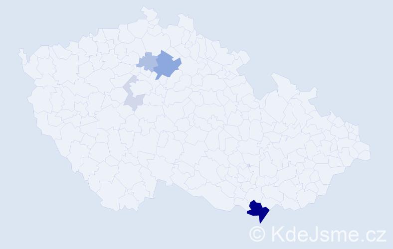 Příjmení: 'Čerešnová', počet výskytů 15 v celé ČR