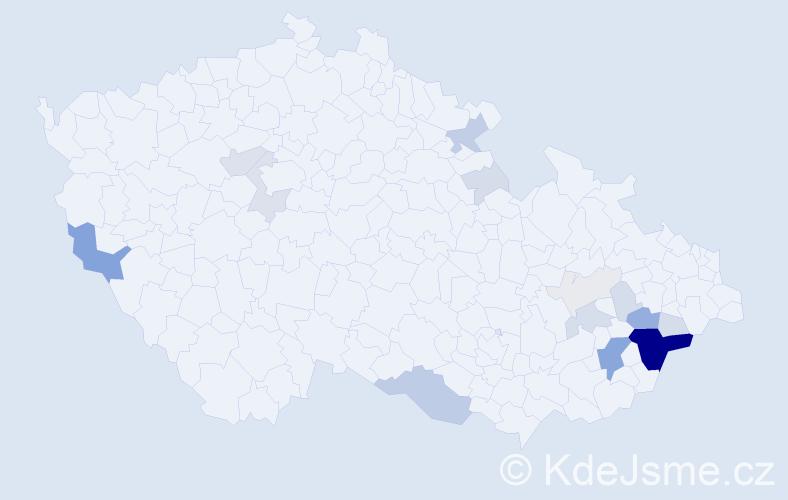Příjmení: 'Cedidla', počet výskytů 68 v celé ČR