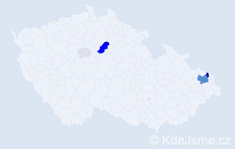 Příjmení: 'Hadrych', počet výskytů 6 v celé ČR