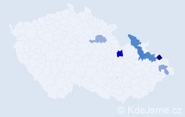 Příjmení: 'Kekeláková', počet výskytů 9 v celé ČR