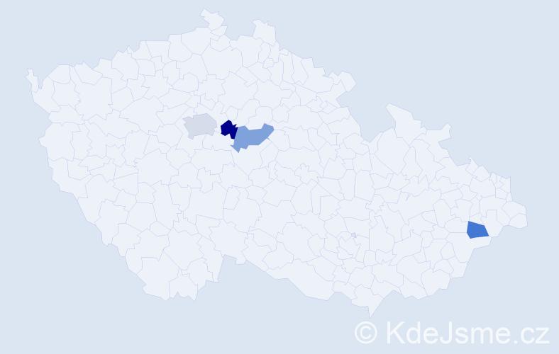 Příjmení: 'Čichová', počet výskytů 5 v celé ČR