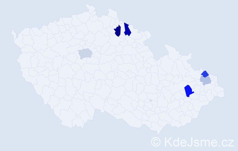 Příjmení: 'Landigová', počet výskytů 7 v celé ČR