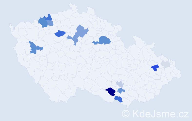 Příjmení: 'Fajčíková', počet výskytů 27 v celé ČR