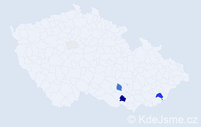 Příjmení: 'Běšínský', počet výskytů 4 v celé ČR