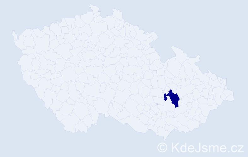 """Příjmení: '""""Enkhbaatar Hanáková""""', počet výskytů 1 v celé ČR"""