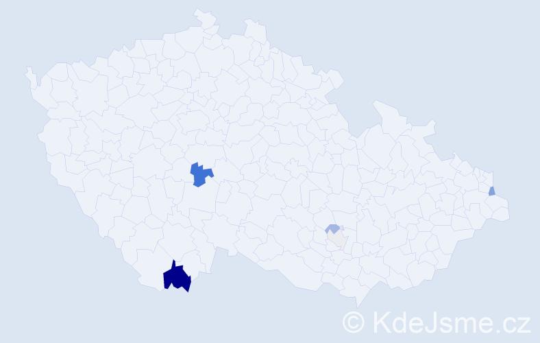 Příjmení: 'Grznáriková', počet výskytů 12 v celé ČR