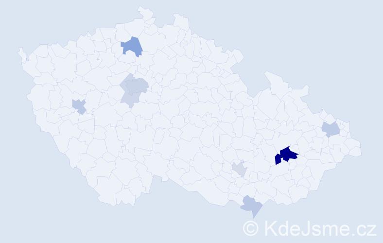 Příjmení: 'Čelustka', počet výskytů 30 v celé ČR