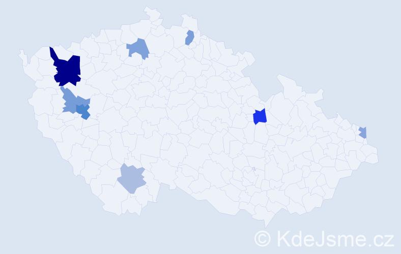 Příjmení: 'Hasler', počet výskytů 15 v celé ČR