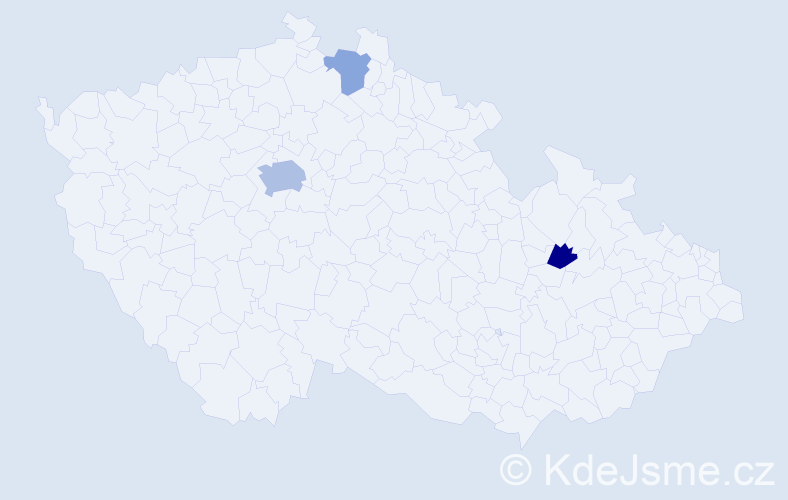 Příjmení: 'Lack', počet výskytů 6 v celé ČR