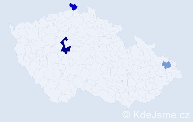 Příjmení: 'Ihl', počet výskytů 6 v celé ČR