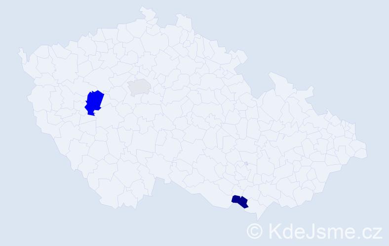 Příjmení: 'Eidler', počet výskytů 4 v celé ČR