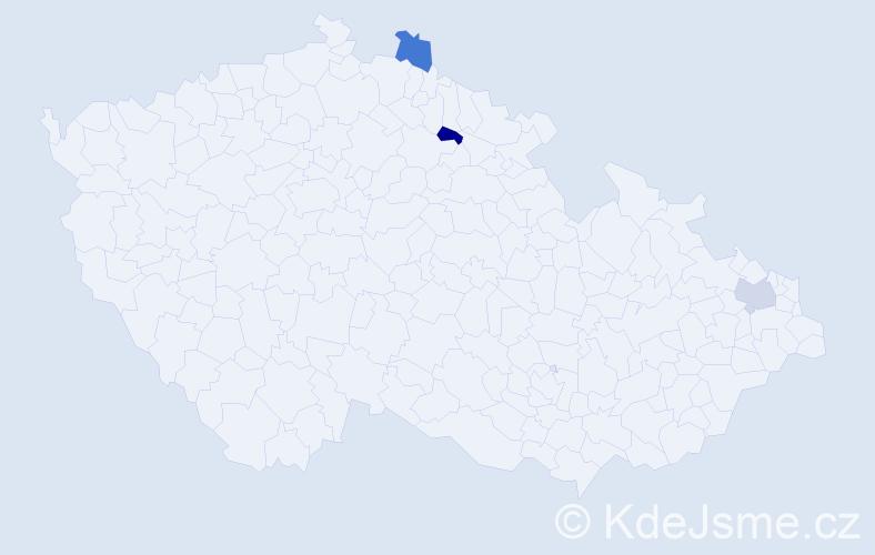 Příjmení: 'Bartoníčka', počet výskytů 3 v celé ČR