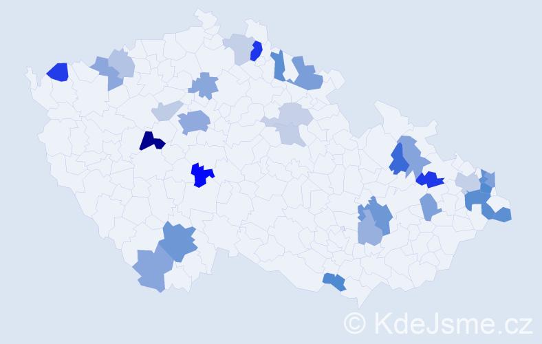 Příjmení: 'Ivanková', počet výskytů 62 v celé ČR