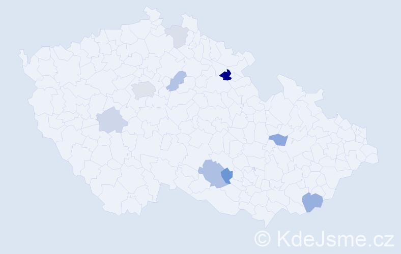 Příjmení: 'Holínská', počet výskytů 18 v celé ČR