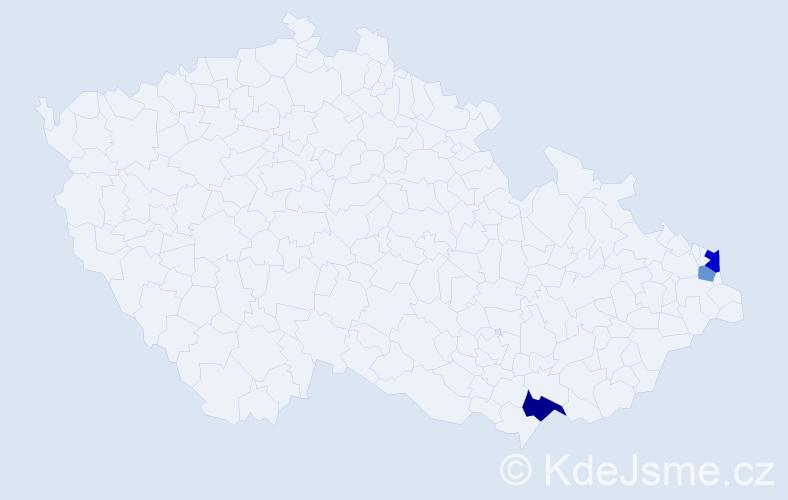 Příjmení: 'Ichnátyik', počet výskytů 5 v celé ČR