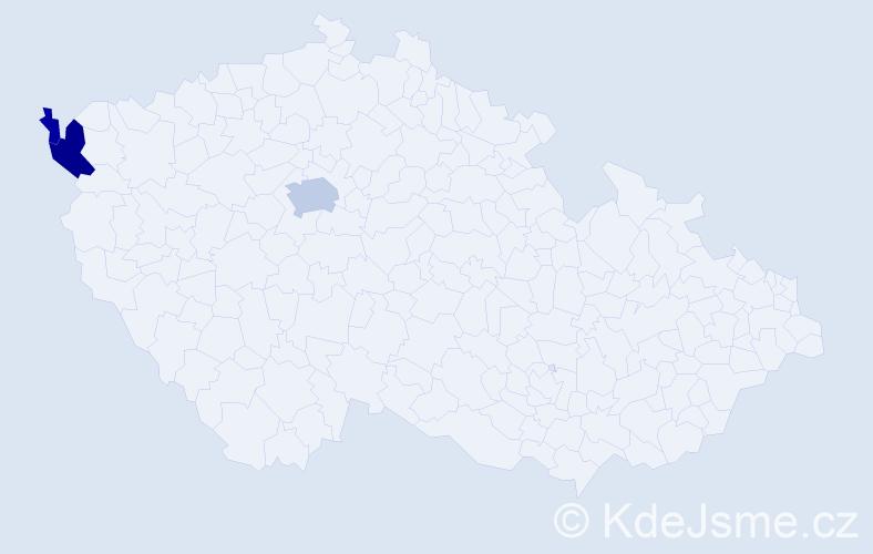 Příjmení: 'Hammrlová', počet výskytů 8 v celé ČR
