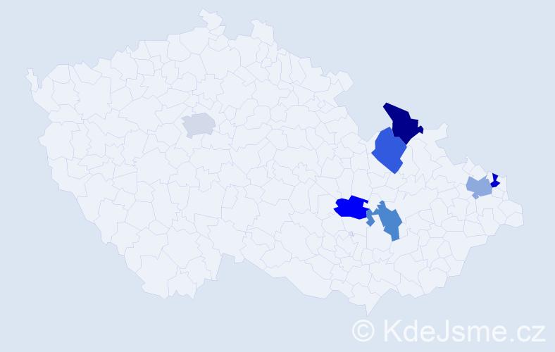 Příjmení: 'Geclová', počet výskytů 7 v celé ČR
