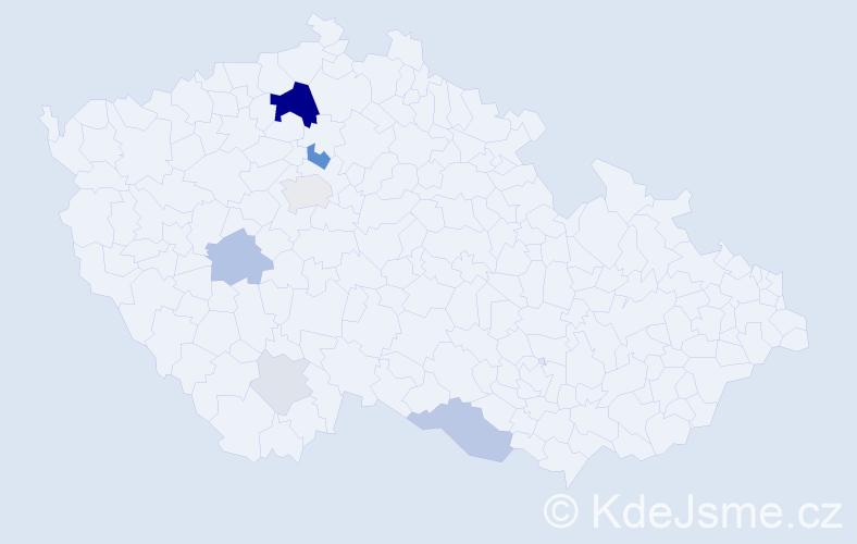 Příjmení: 'Kloubská', počet výskytů 25 v celé ČR
