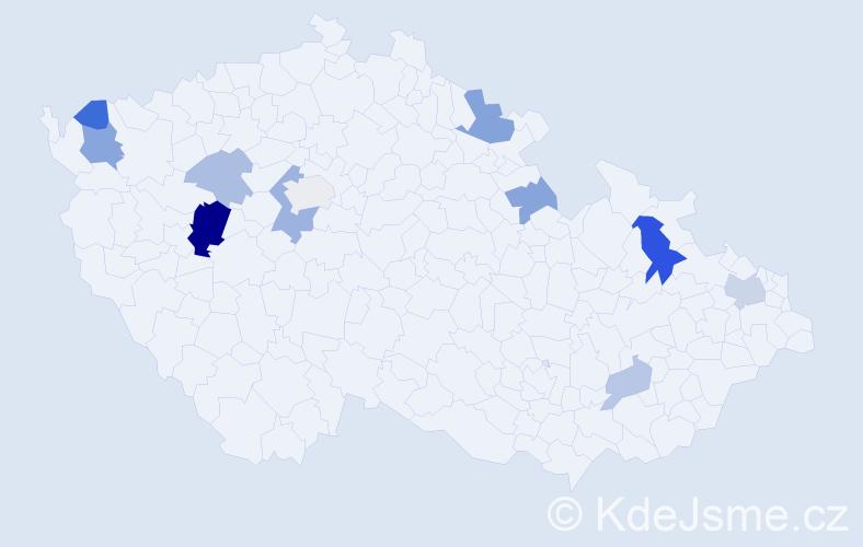 Příjmení: 'Ďuran', počet výskytů 22 v celé ČR