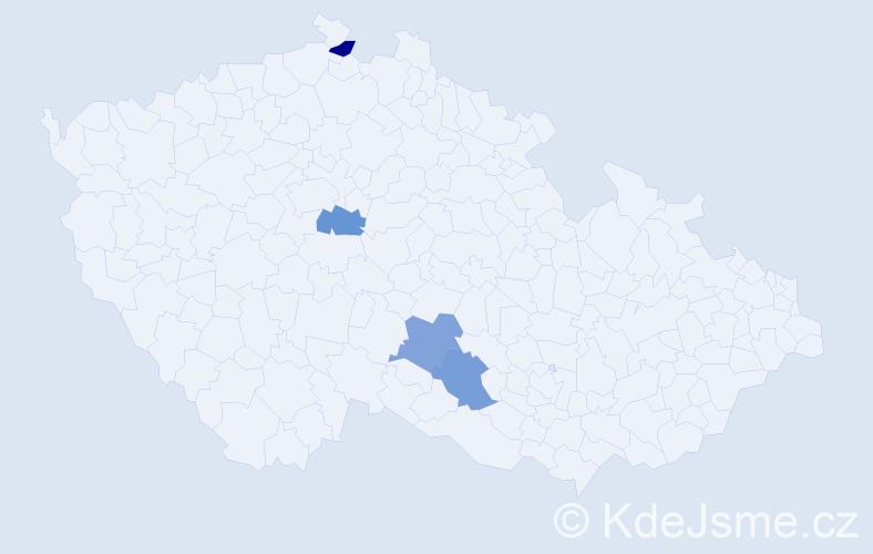 Příjmení: 'Kristinusová', počet výskytů 4 v celé ČR