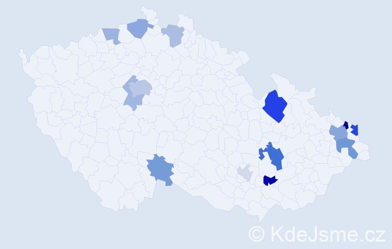 Příjmení: 'Čupka', počet výskytů 28 v celé ČR