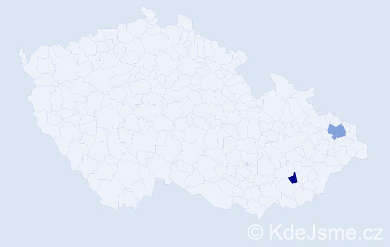 Příjmení: 'Hiánek', počet výskytů 5 v celé ČR