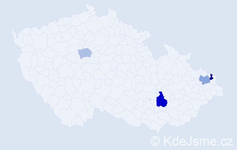 Příjmení: 'Görčöš', počet výskytů 5 v celé ČR