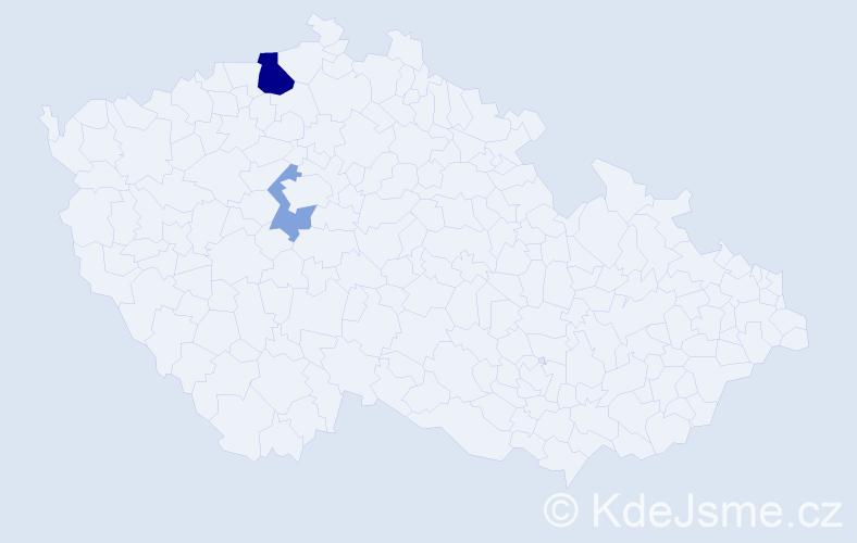 Příjmení: 'Kökertová', počet výskytů 5 v celé ČR