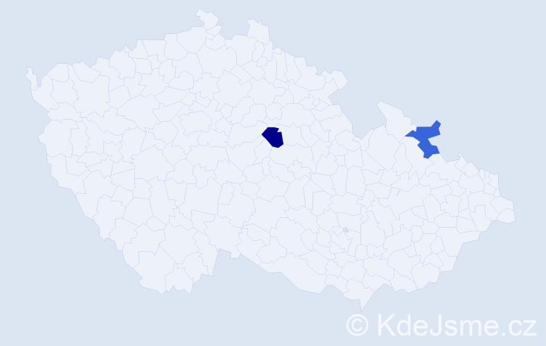 Příjmení: 'Banu', počet výskytů 2 v celé ČR