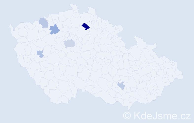 Příjmení: 'Ismailová', počet výskytů 15 v celé ČR