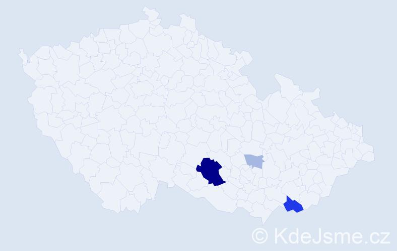 Příjmení: 'Lesslová', počet výskytů 12 v celé ČR