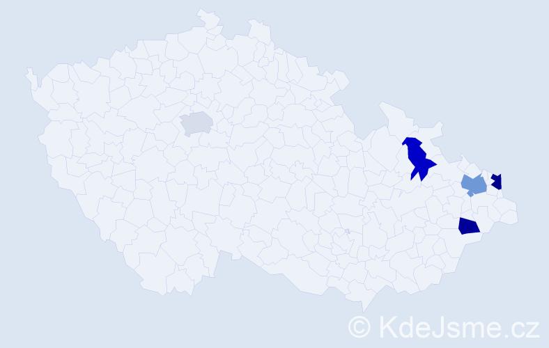 Příjmení: 'Ľalík', počet výskytů 7 v celé ČR