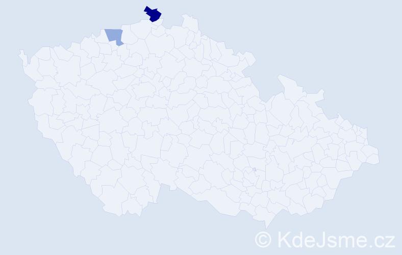 Příjmení: 'Abdi', počet výskytů 3 v celé ČR