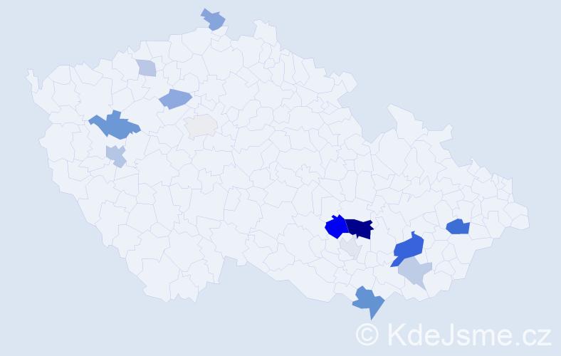 Příjmení: 'Kristýnová', počet výskytů 30 v celé ČR