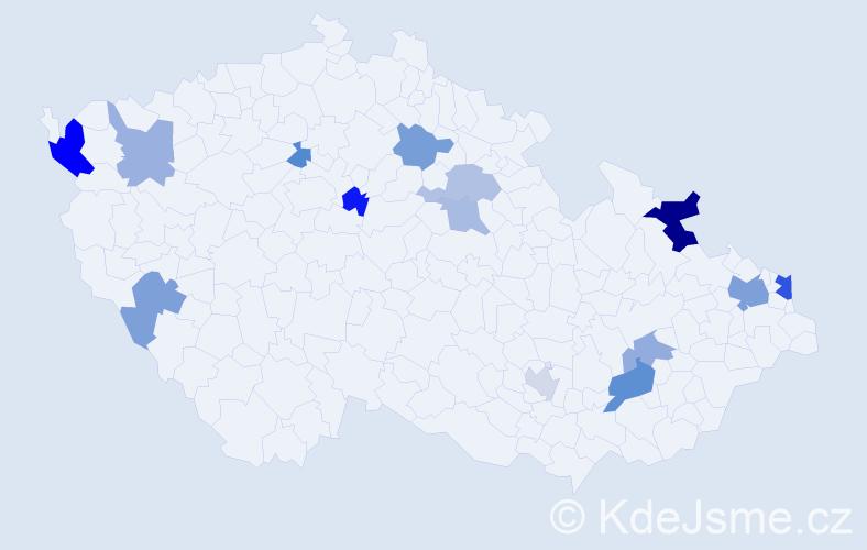 Příjmení: 'Csomor', počet výskytů 24 v celé ČR