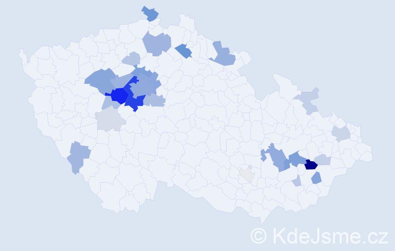Příjmení: 'Ejem', počet výskytů 114 v celé ČR