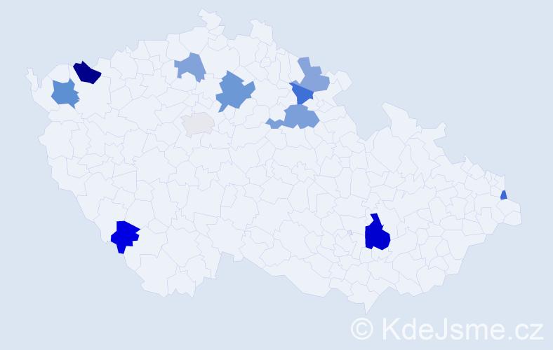 Příjmení: 'Karabin', počet výskytů 17 v celé ČR