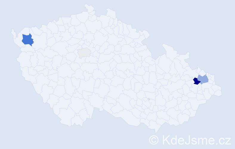 Příjmení: 'Čajdíková', počet výskytů 9 v celé ČR