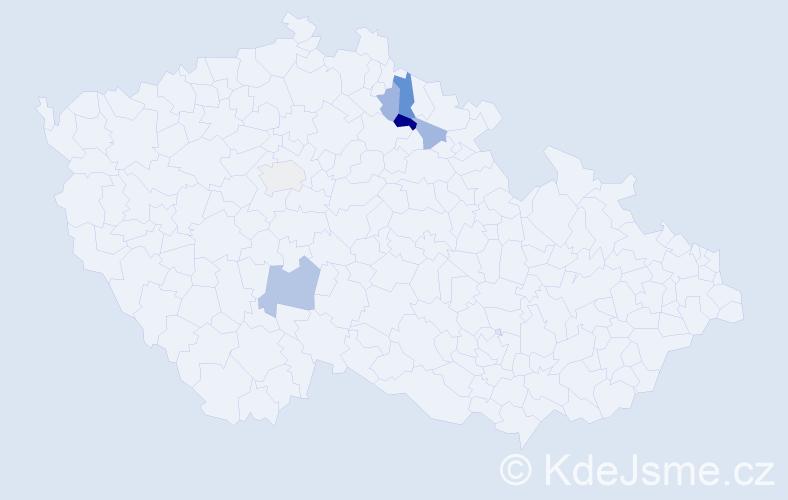 Příjmení: 'Čmuchalová', počet výskytů 10 v celé ČR